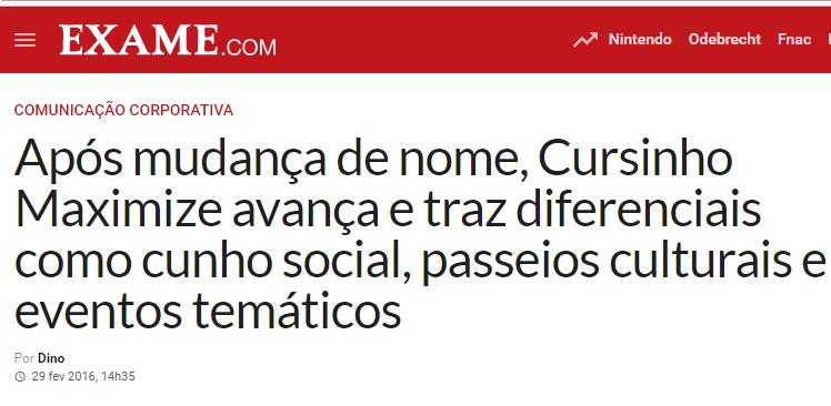 Exame – Após mudança de nome, Cursinho Maximize avança