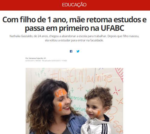 G1 – Jovem mãe conquista 1° lugar na UFABC