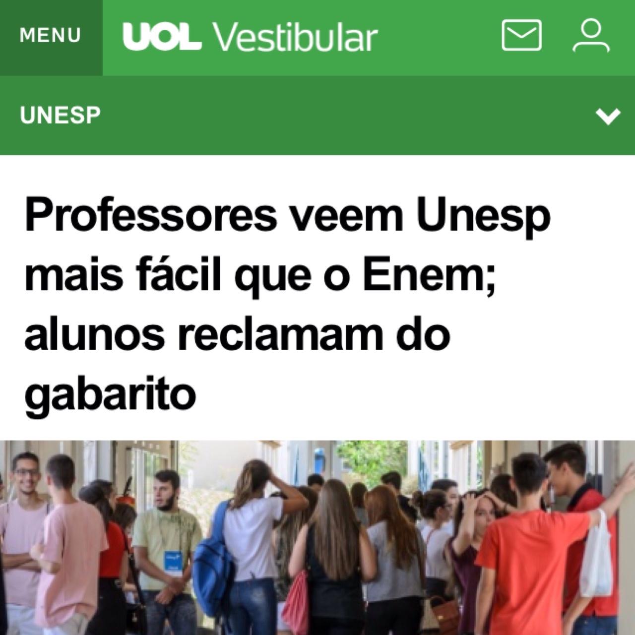 UOL – Vestibular UNESP 2018