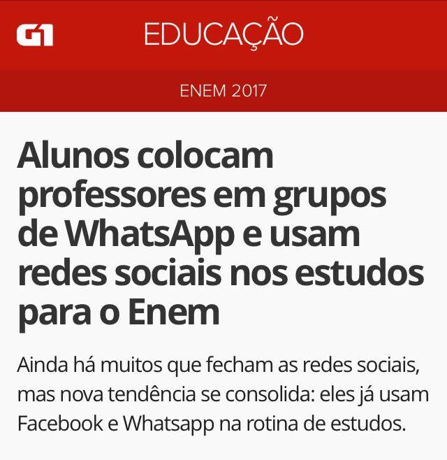 G1 – Alunos usam grupos no WhatsApp para estudar