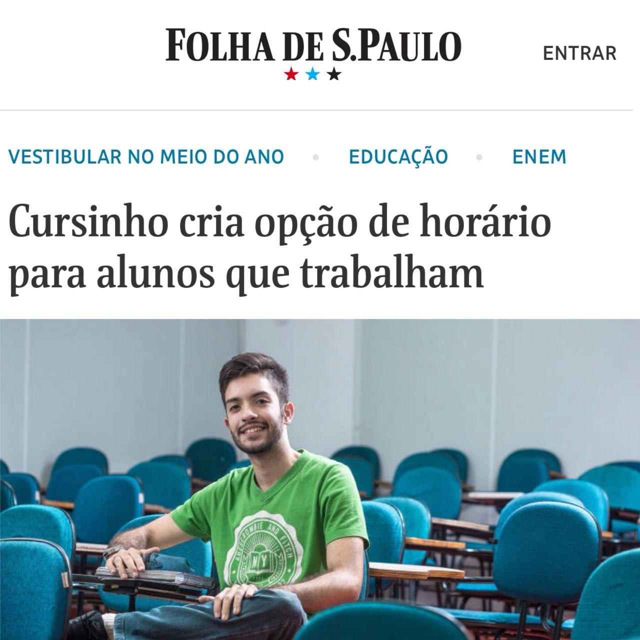 Folha – Cursinho cria opção de horário para alunos que trabalham